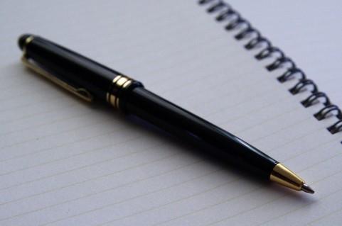 ノートにペン